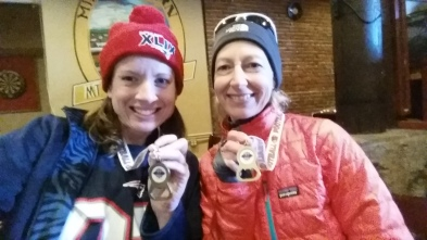 My friend Donna Sarasin and I. Loving our medals!
