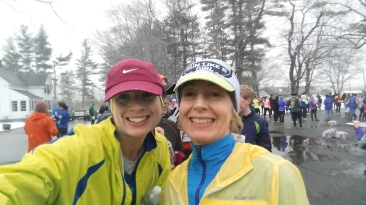 My favorite race buddy and fellow MRTTer Donna S. and I ready to run